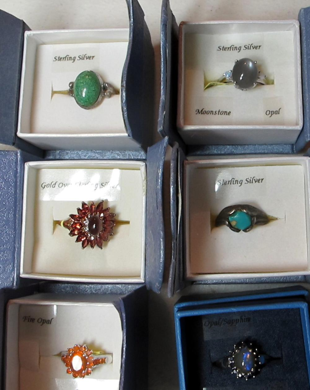 Lot 44: 8 PC BOXED STERLING SILVER RINGS GEMSTONE TURQUOISE CABOCHON ETC