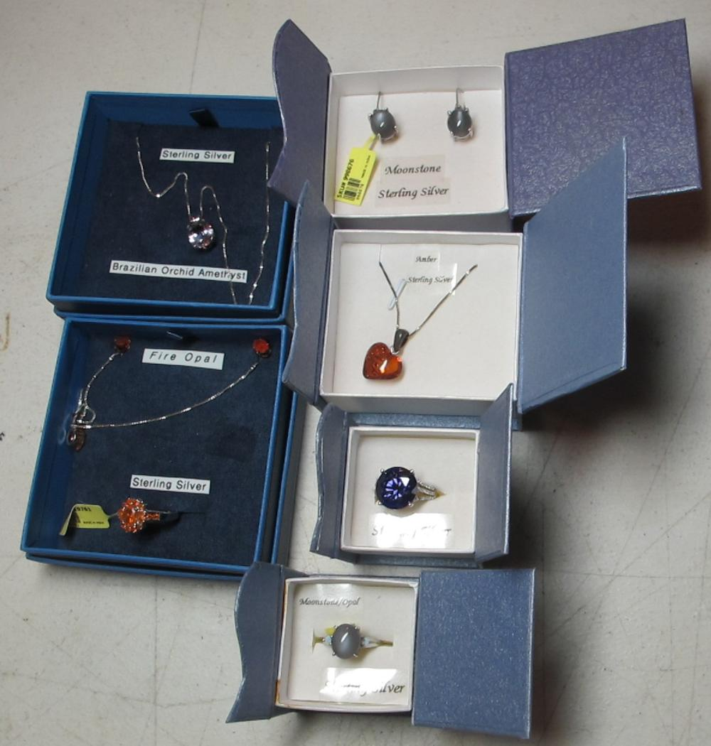 6 PC BOXED STERLING SILVER GEMSTONE JEWELRY RINGS NECKLACE EARRINGS