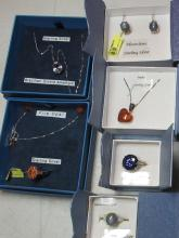 Lot 43: 6 PC BOXED STERLING SILVER GEMSTONE JEWELRY RINGS NECKLACE EARRINGS