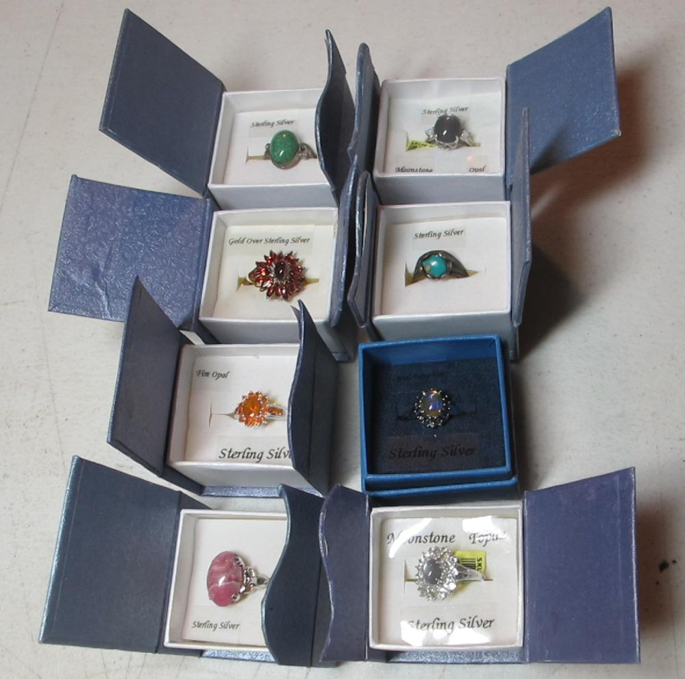 8 PC BOXED STERLING SILVER RINGS GEMSTONE TURQUOISE CABOCHON ETC