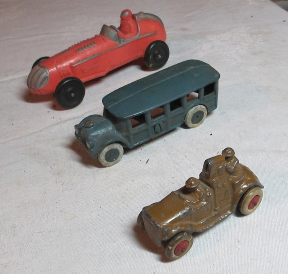"3 ANTIQUE TOY CARS 6"" AUBURN RUBBER CAST IRON ARCADE ? DIECAST ARMY"
