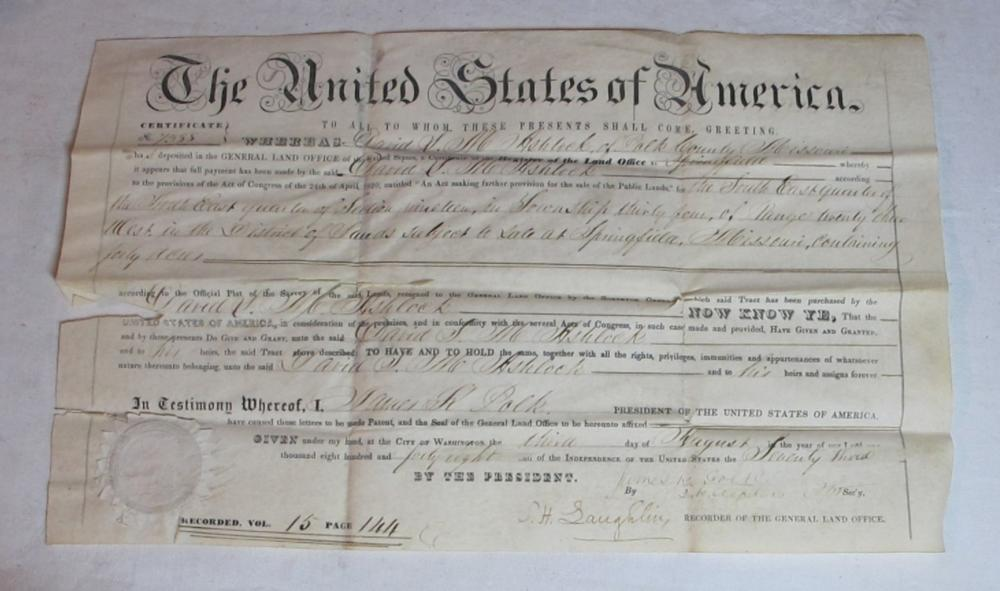 1848 POLK COUNTY MISSOURI LAND DEED DOCUMENT SIGNED PRESIDENT JAMES K POLK