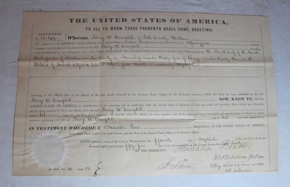 1854 POLK COUNTY MISSOURI LAND GRANT DOCUMENT SIGNED PRESIDENT FRANKLIN PIERCE