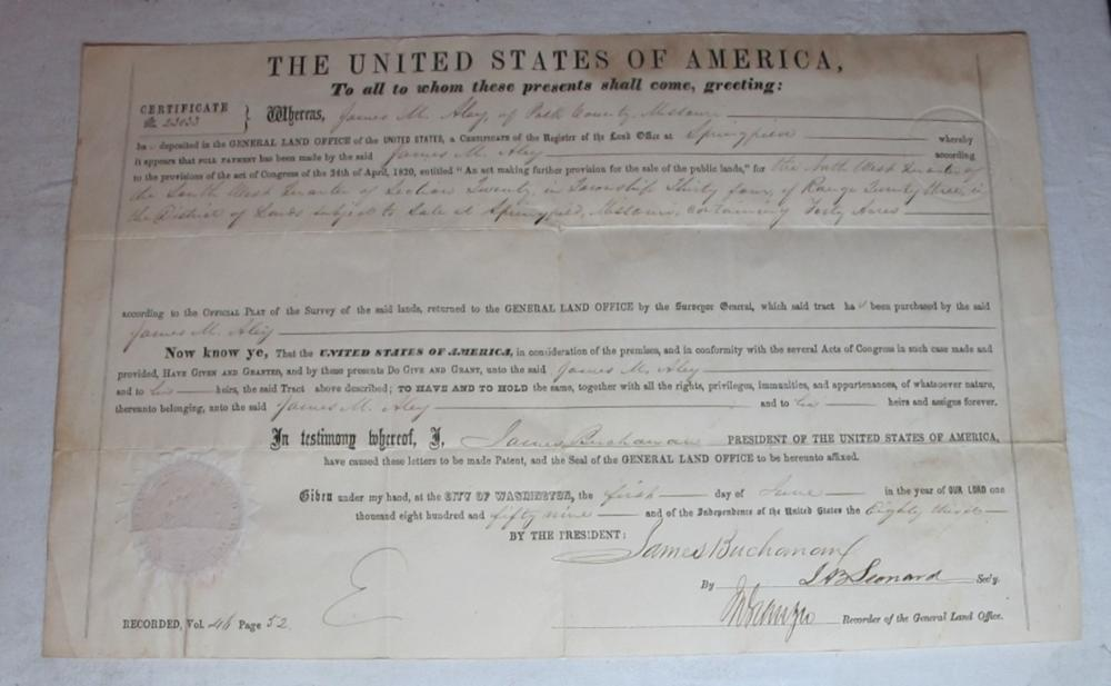 1859 POLK COUNTY MISSOURI LAND GRANT DOCUMENT SIGNED PRESIDENT JAMES BUCHANAN