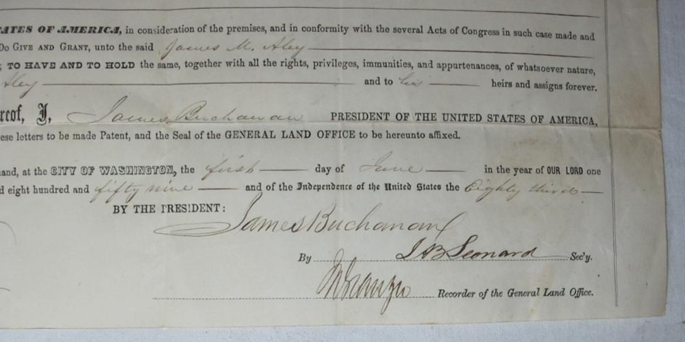 Lot 139: 1859 POLK COUNTY MISSOURI LAND GRANT DOCUMENT SIGNED PRESIDENT JAMES BUCHANAN