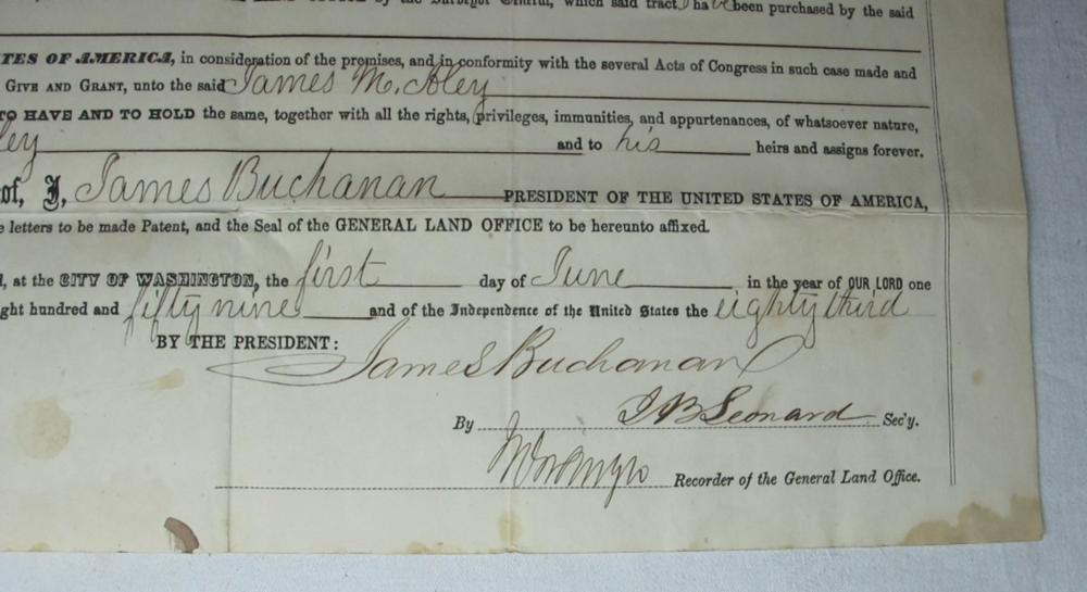 Lot 140: 1859 POLK COUNTY MISSOURI LAND GRANT DOCUMENT SIGNED PRESIDENT JAMES BUCHANAN #2