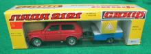 VINTAGE RUSSIAN LADA HNBA 1:43 SCALE DIE CAST SUV CAR WITH TRAILER IN BOX