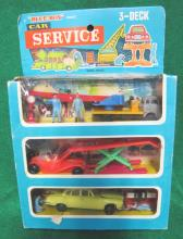 VINTAGE BLUE BOX CAR SERVICE 3-DECK PLASTIC TOY PLAYSET NEW IN BOX