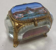 1904 ST. LOUIS WORLD'S FAIR GLASS METAL PINCUSHION TRINKET BOX CASCADE GARDEN