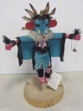 VINTAGE NAVAJO INDIAN MADE KACHINA DOLL W. YAZZIE SIGNED WITH TAG TURQUOISE