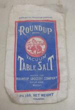RARE VINTAGE ROUNDUP GROCERY SPOKANE ADVERTISING CLOTH TABLE SALT BAG
