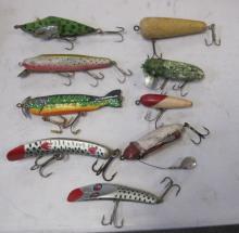 NINE VINTAGE WOODEN FISHING LURES REPAINTED FOLK ART ETC.
