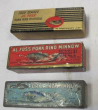 3 VINTAGE AL FOSS FISHING LURES WITH ORIGINAL BOXES TINS