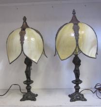 TWO VINTAGE ART DECO FIGURAL CUPID CHERUB LAMPS W/ SLAG GLASS SHADES