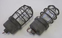 TWO VINTAGE CROUSE-HINDS EXPLOSION PROOF STEEL CAGE INDUSTRIAL SAFETY LIGHTS