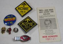 8 PIECE LOT VINTAGE RADIO STATION COLLECTIBLES PINBACKS PINS BOB HOWARD CONTEST CARD