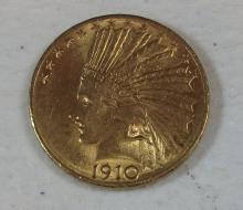 1910 US $10 GOLD PIECE INDIAN NICE