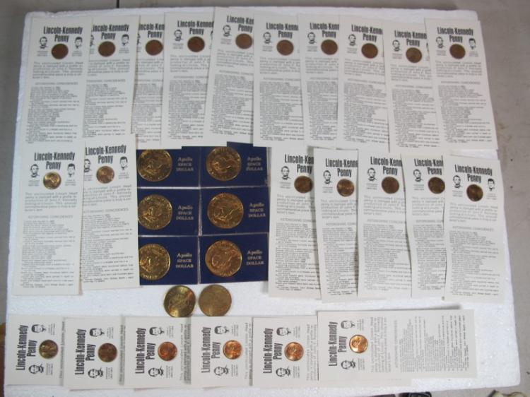 COIN LOT 24 LINCOLN/KENNEDY NOVELTY PENNY 6 EISENHOWER APOLLO SPACE DOLLARS 2 MONTANA TOKENS