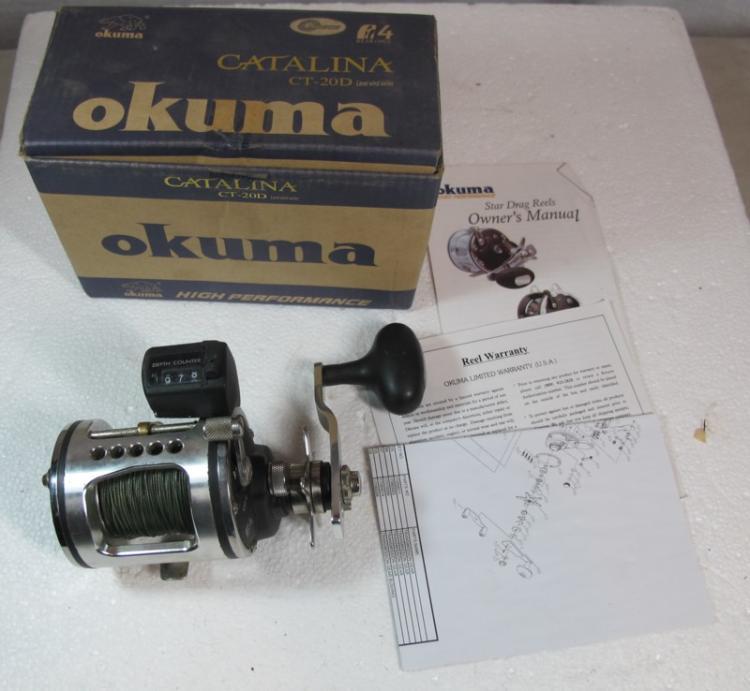 OKUMA CATALINA CT-20D HIGH PERFORMANCE FISHING REEL W/COUNTER + BOX