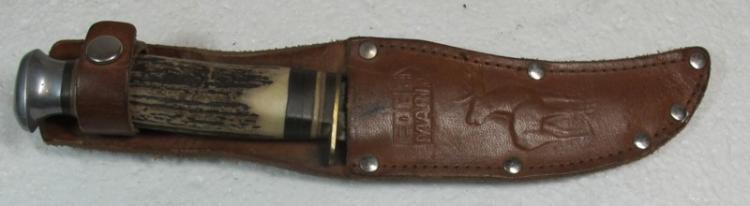 VINTAGE GERMAN EDGE MARK ORIGINAL BUFFALO HUNTER BONE HANDLE HUNTING KNIFE