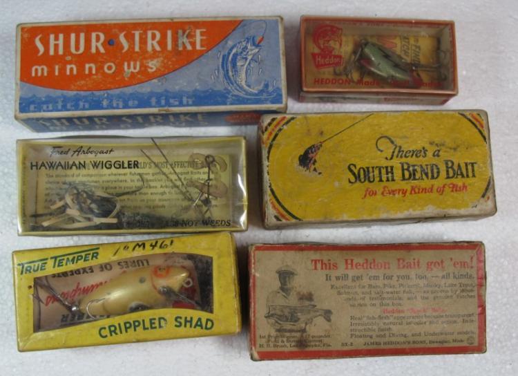 6 VINTAGE FISHING LURES WITH BOX HEDDON CRAZY CRAWLER SONAR SOUTH BEND SHUR STRIKE