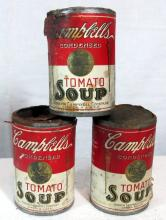 3 1912 1913 ANTIQUE CAMPBELL'S SOUP PAPER LABEL TIN CANS RARE