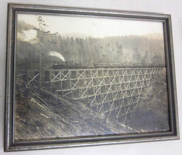 RARE ORIGINAL FRAMED DARIUS KINSEY SEATTLE PHOTOGRAPH OF PHOENIX LOGGING CO. TRAIN AT POTLATCH WASHINGTON PHOTO IS 10 X 13