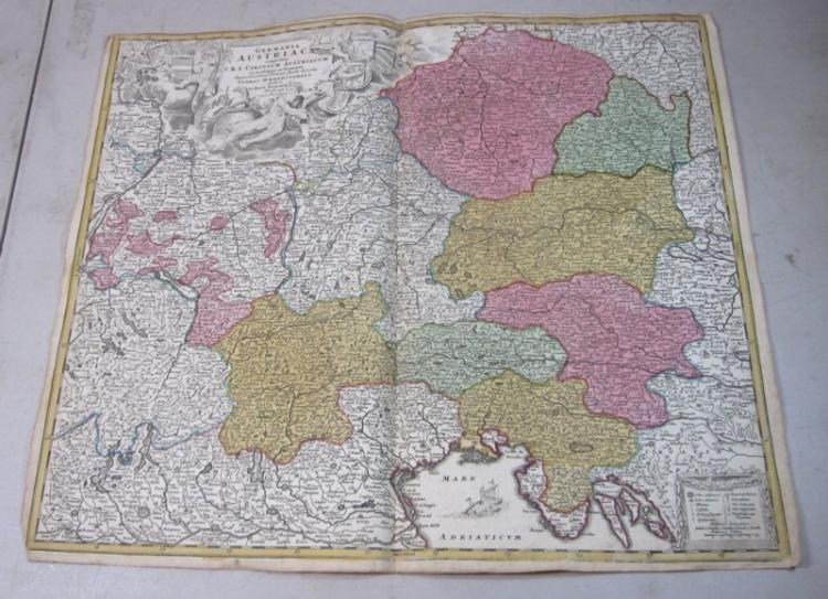 ORIGINAL 1700'S HOMANN ENGRAVED COLOR MAP GERMANIA AUSTRIACA GERMANY