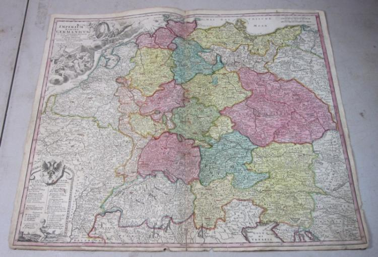 ORIGINAL 1700'S HOMANN ENGRAVED COLOR MAP EMPIRIUM ROMANO GERMANICUM GERMANY
