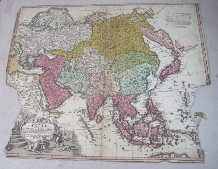 ORIGINAL 1700'S HOMANN ENGRAVED COLOR MAP ASIAE ASIA
