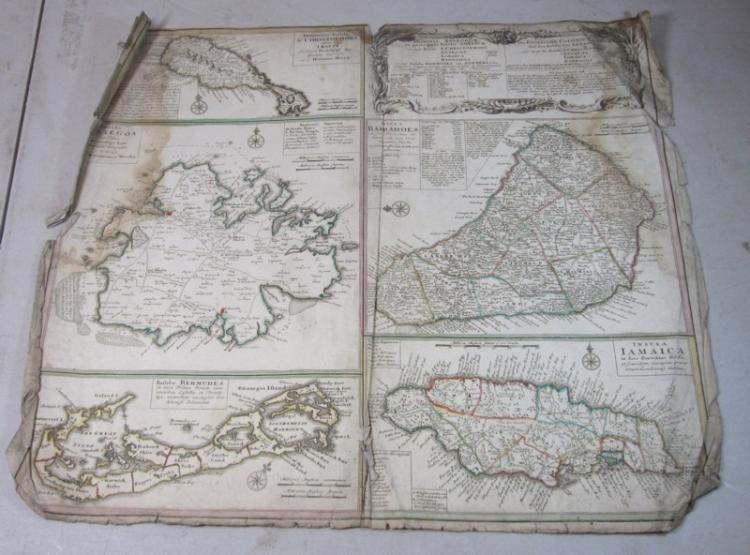 ORIGINAL 1700'S HOMANN COLOR ENGRAVED MAP CARRIBEAN ISLANDS JAMAICA BERMUDA BARBADOS