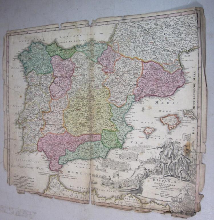 ORIGINAL 1700'S HOMANN COLOR ENGRAVED MAP HISPANIA PORTUGALIA SPAIN PORTUGAL