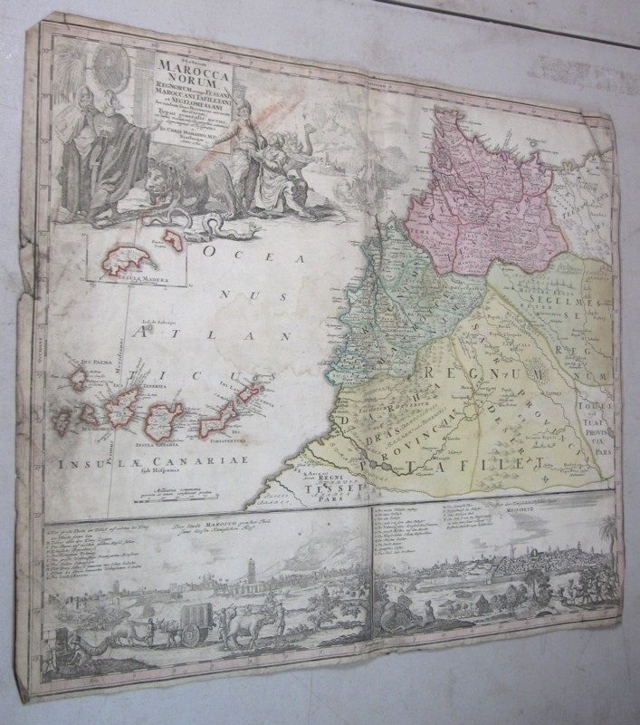 ORIGINAL 1700'S HOMANN COLOR ENGRAVED MAP MAROCCA NORUM MOROCCO