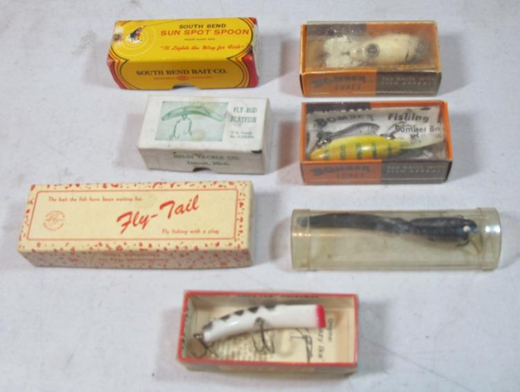 7 VINTAGE FISHING LURES IN ORIGINAL BOXES SOUTH BEND HELIN LAZY IKE FLY-TAIL BOMBER