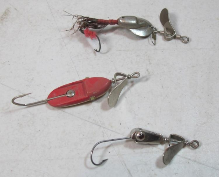 3 vintage al foss pork rind minnow fishing lures in tins and for Pork rind fishing
