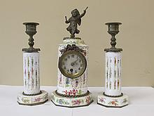 Porcelain Clock & Candlesticks