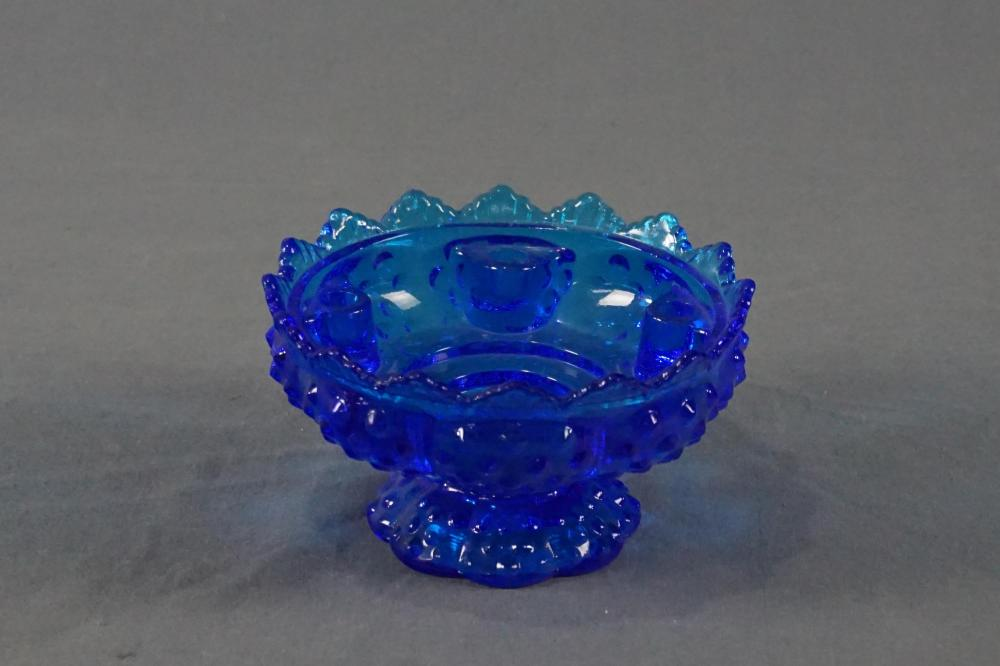 Fenton Blue Glass Candle Bowl