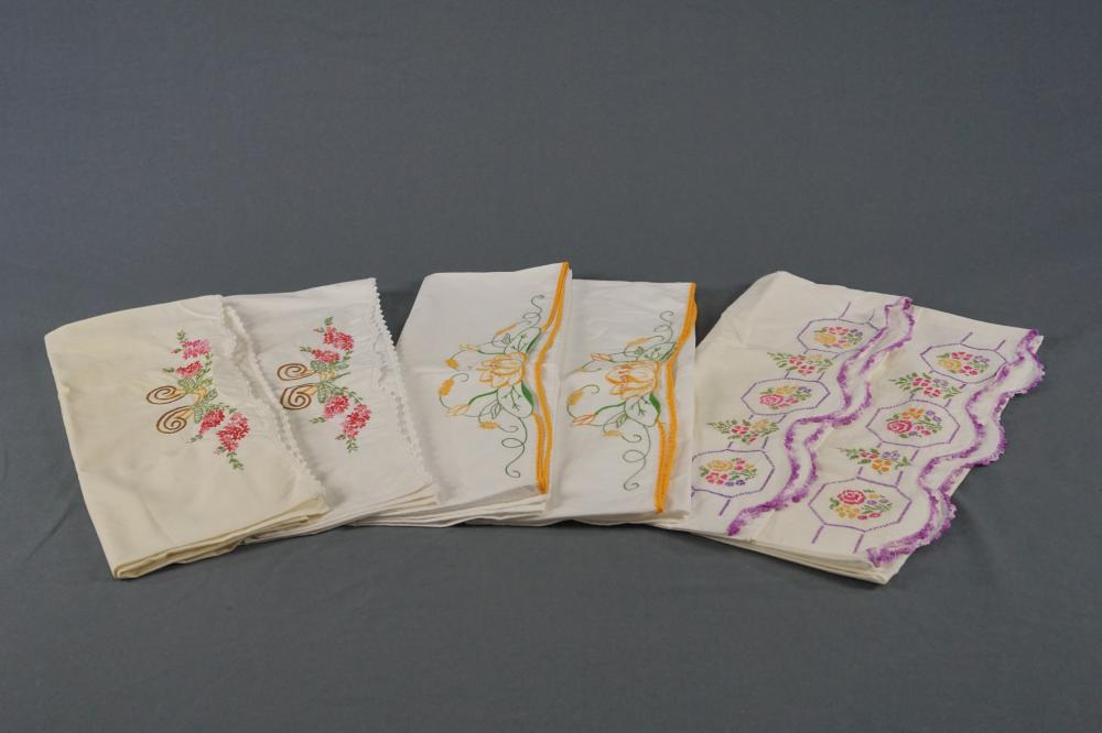 Six Vintage Embroidered Pillowcases