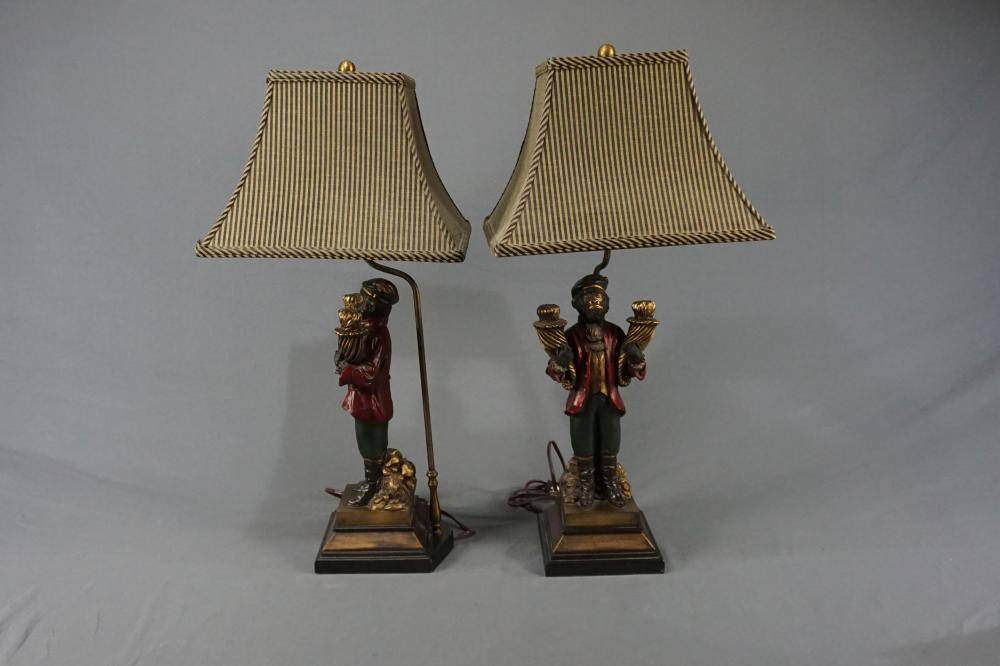Pair of Well Dressed Monkey Lamps