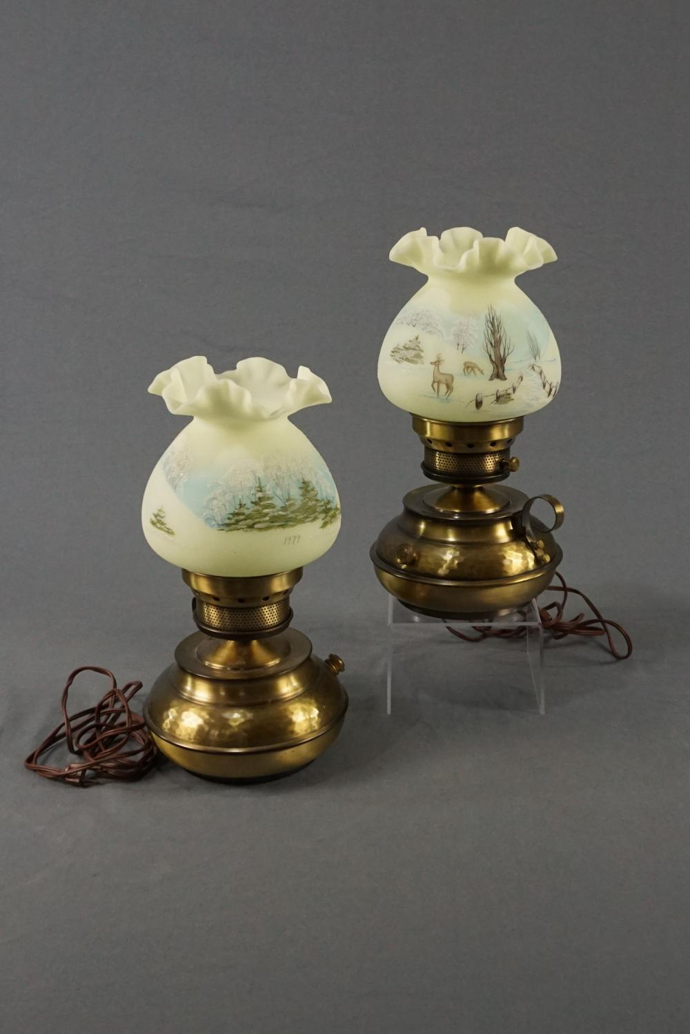 Pair of Hand Painted Fenton Lamps