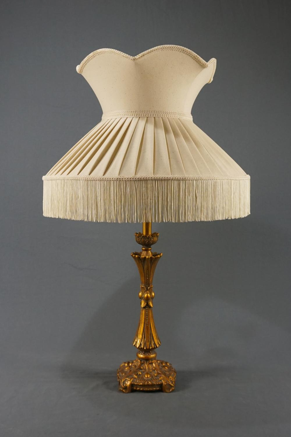 Tall Gold Toned Lamp with Fringed Shade