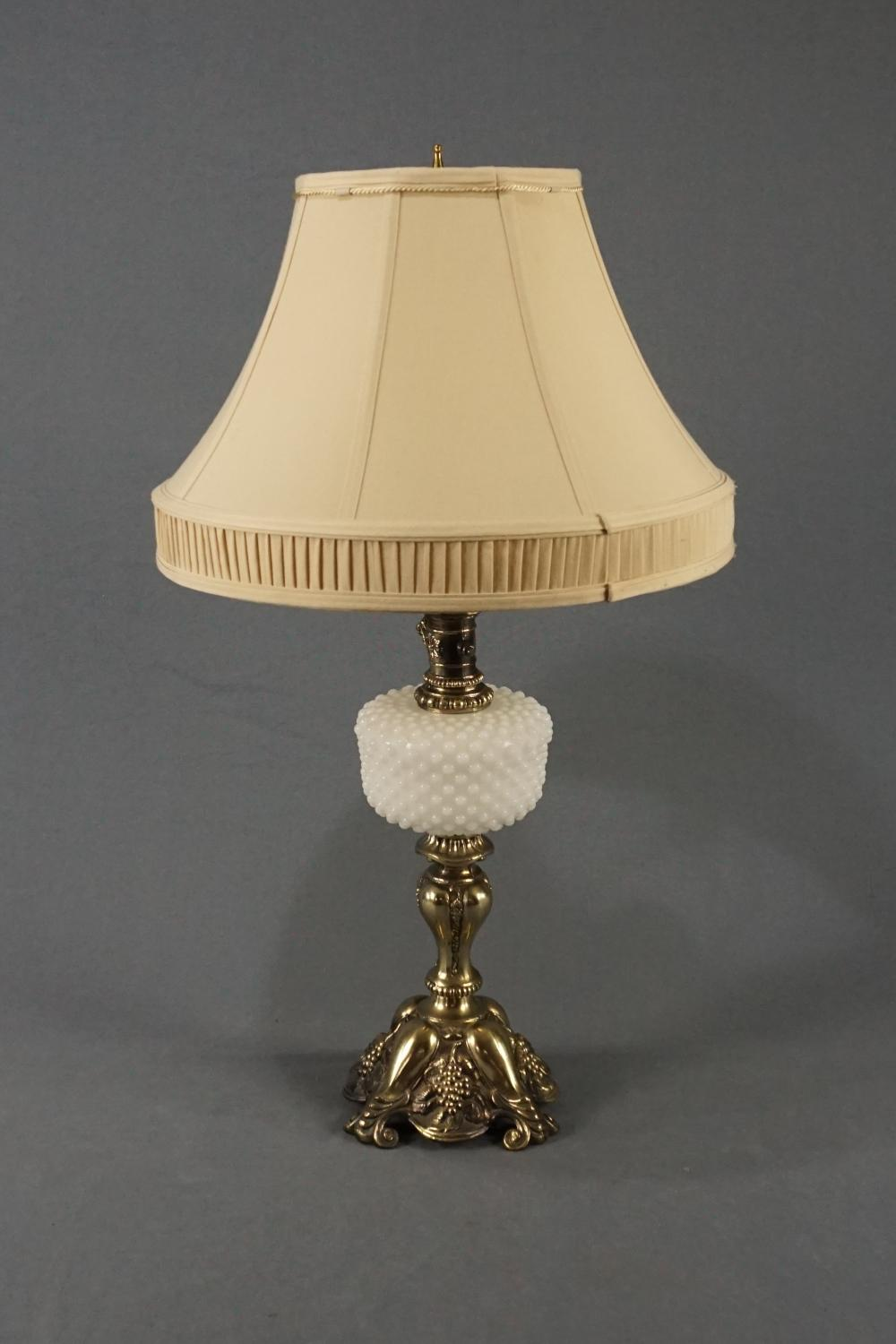 Hobnail and Brass Table Lamp