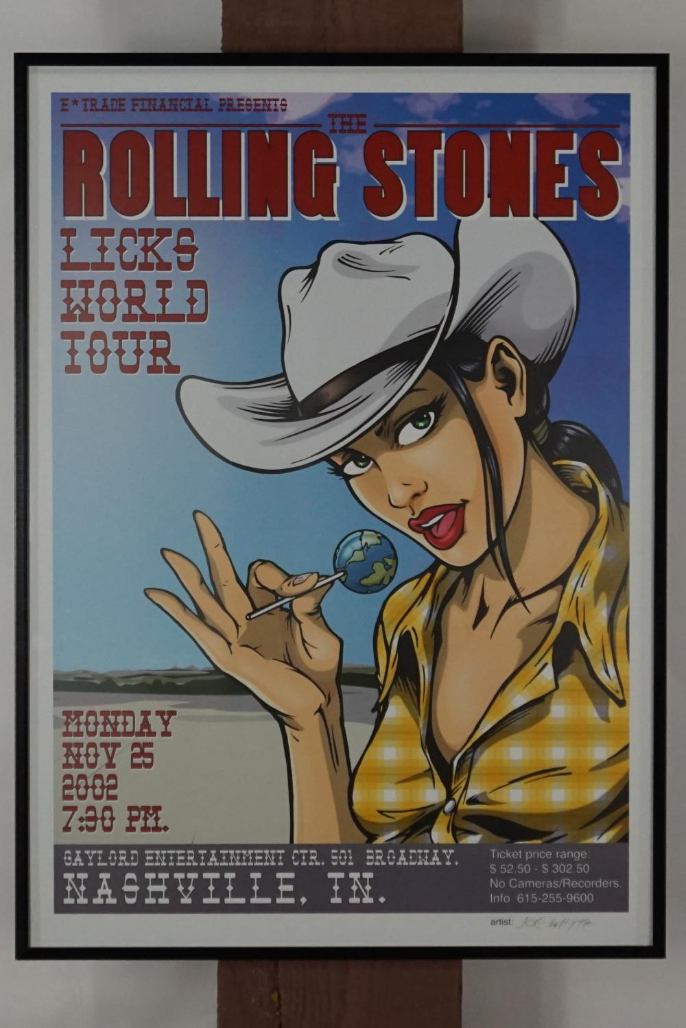 Rolling Stones Licks Tour Signed Concert Poster