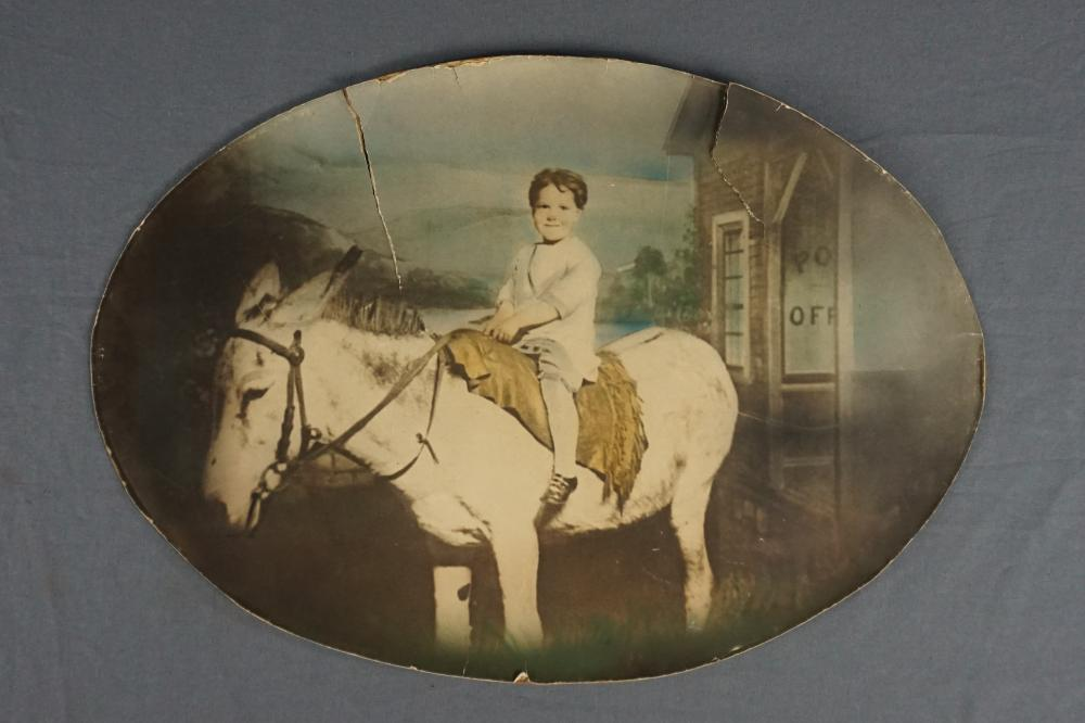 Hand Tinted Photo of Child on Mule