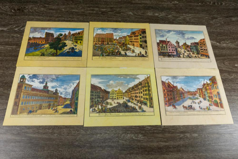 6 Vintage Colored Prints of Germany