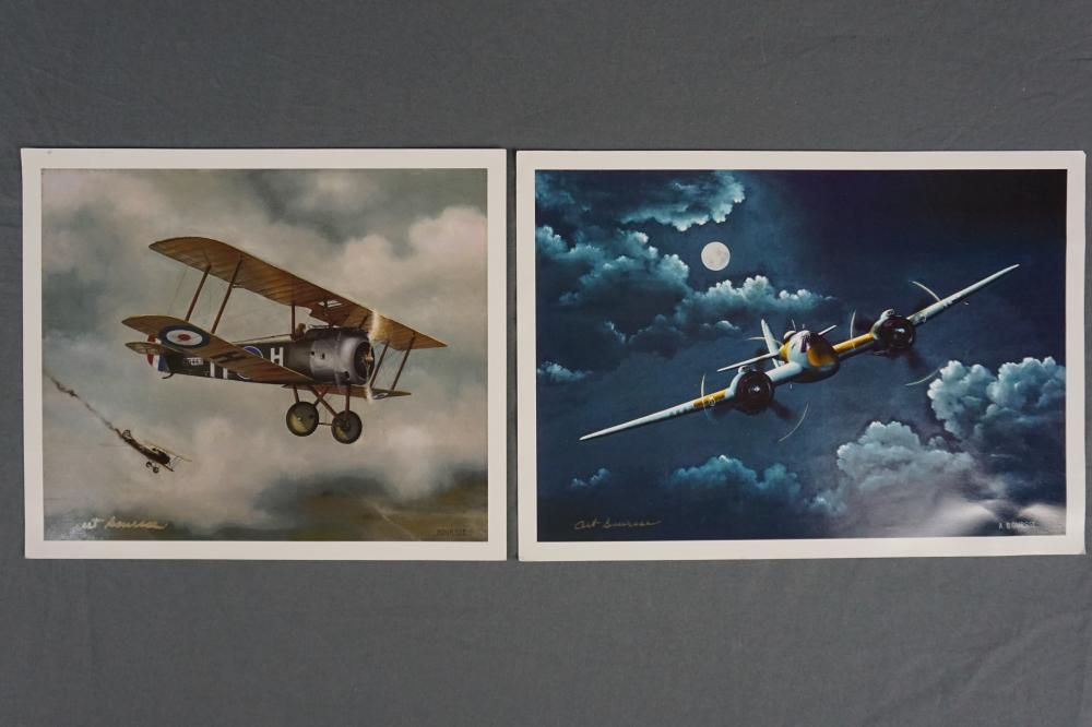 Art Boursee, Two Signed Airplane Prints