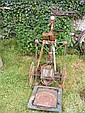 A Gem treadle saw and a set of old scales, etc