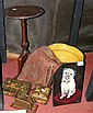 A wine table, jardiniere, dog picture etc.