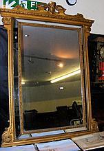 A Regency gilt wood and gesso framed overmantel