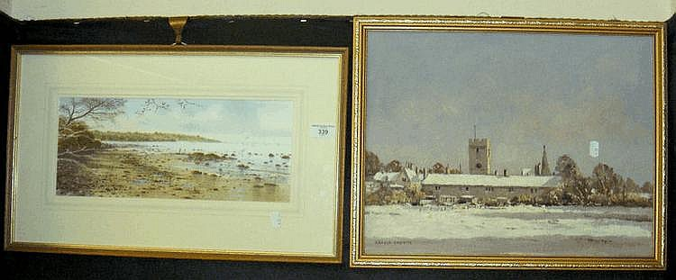 PETER JONES watercolour of Isle of Wight coastal